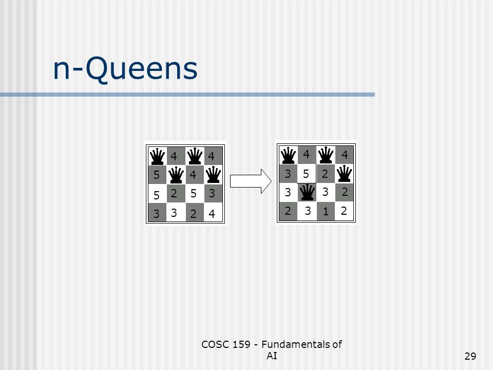 COSC 159 - Fundamentals of AI29 n-Queens 5 5 4 3 2 3 4 5 2 4 3 4 3 3 23 5 4 2 3 1 4 2 2