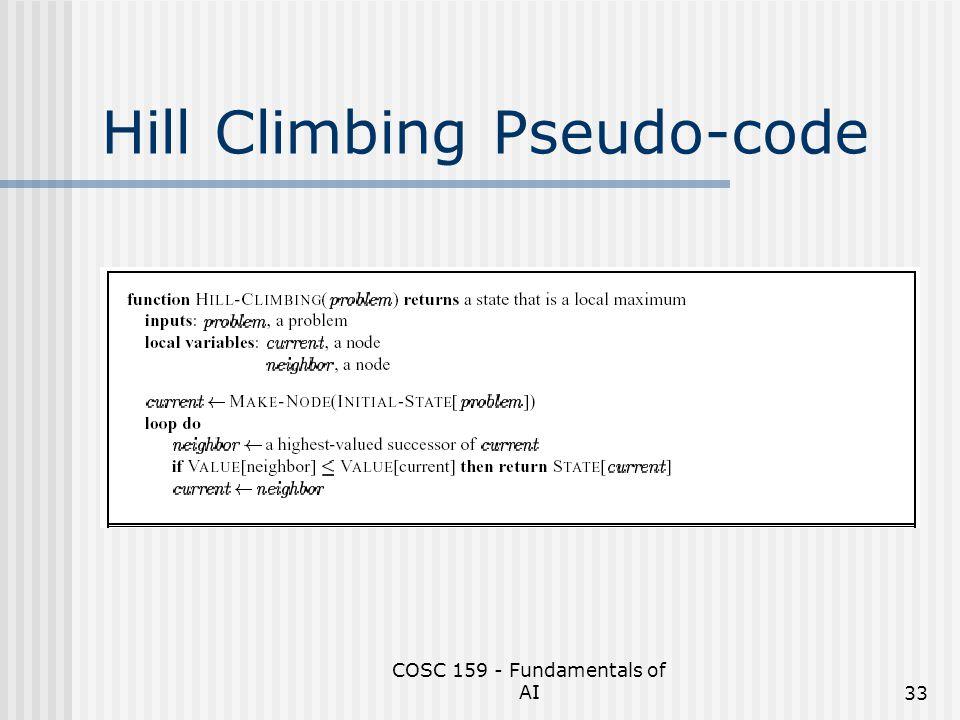 COSC 159 - Fundamentals of AI33 Hill Climbing Pseudo-code