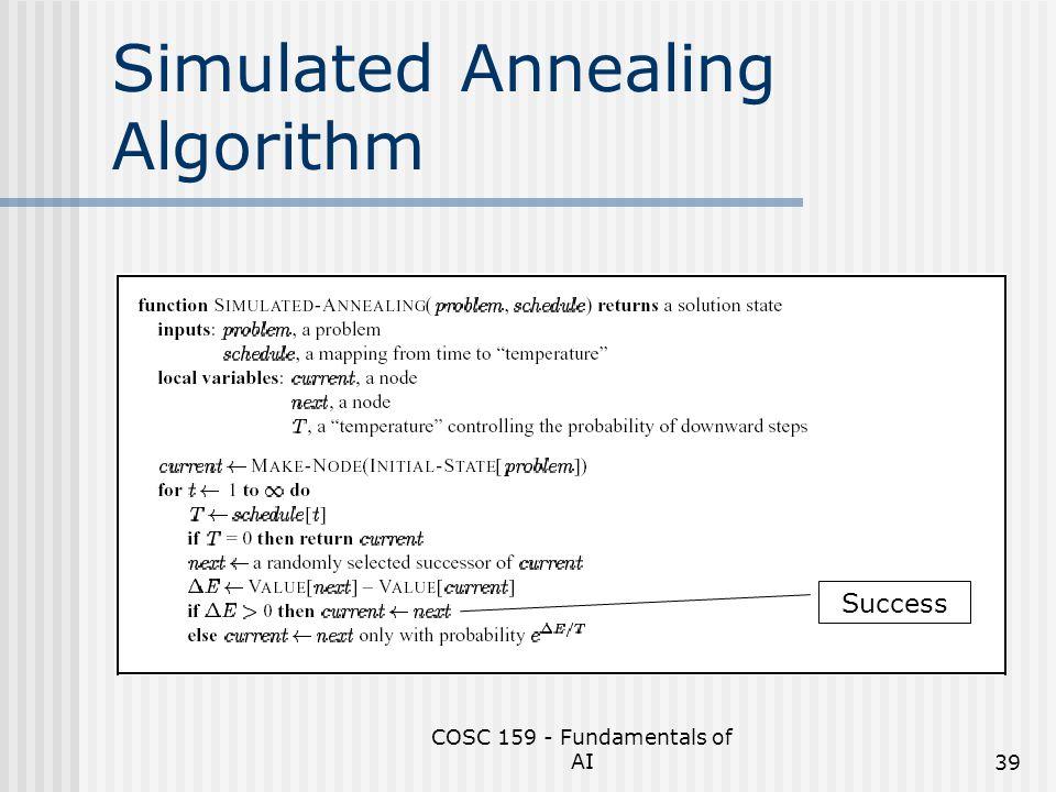 COSC 159 - Fundamentals of AI39 Simulated Annealing Algorithm Success