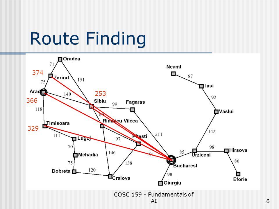COSC 159 - Fundamentals of AI7 Route Finding Arad f(n) = 366 TimisoaraSibiuZerind 374329253 Arad Rimnicu Vilcea OradeaFagaras 366176380193 BucharestSibiu 0253