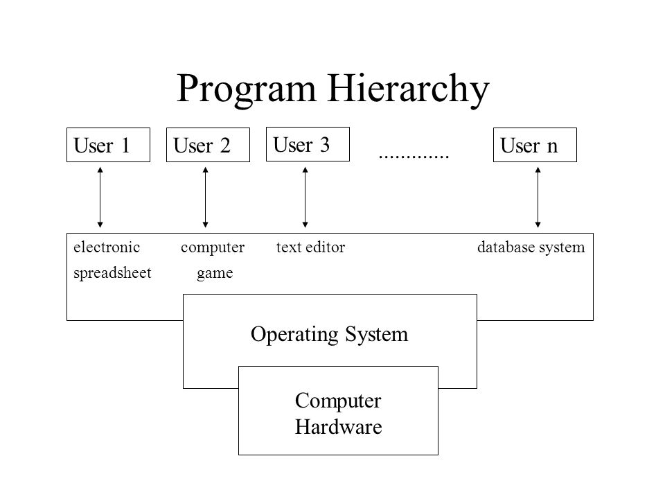 Program Hierarchy User 1User 2 User 3 User n............. electronic computer text editor database system spreadsheet game Operating System Computer H