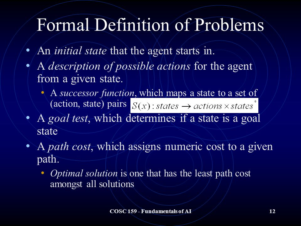 COSC Fundamentals of AI12 Formal Definition of Problems An initial state that the agent starts in.