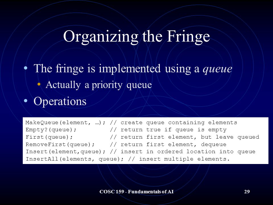 COSC 159 - Fundamentals of AI29 Organizing the Fringe The fringe is implemented using a queue Actually a priority queue Operations MakeQueue(element, …); // create queue containing elements Empty (queue); // return true if queue is empty First(queue); // return first element, but leave queued RemoveFirst(queue); // return first element, dequeue Insert(element,queue); // insert in ordered location into queue InsertAll(elements, queue); // insert multiple elements.