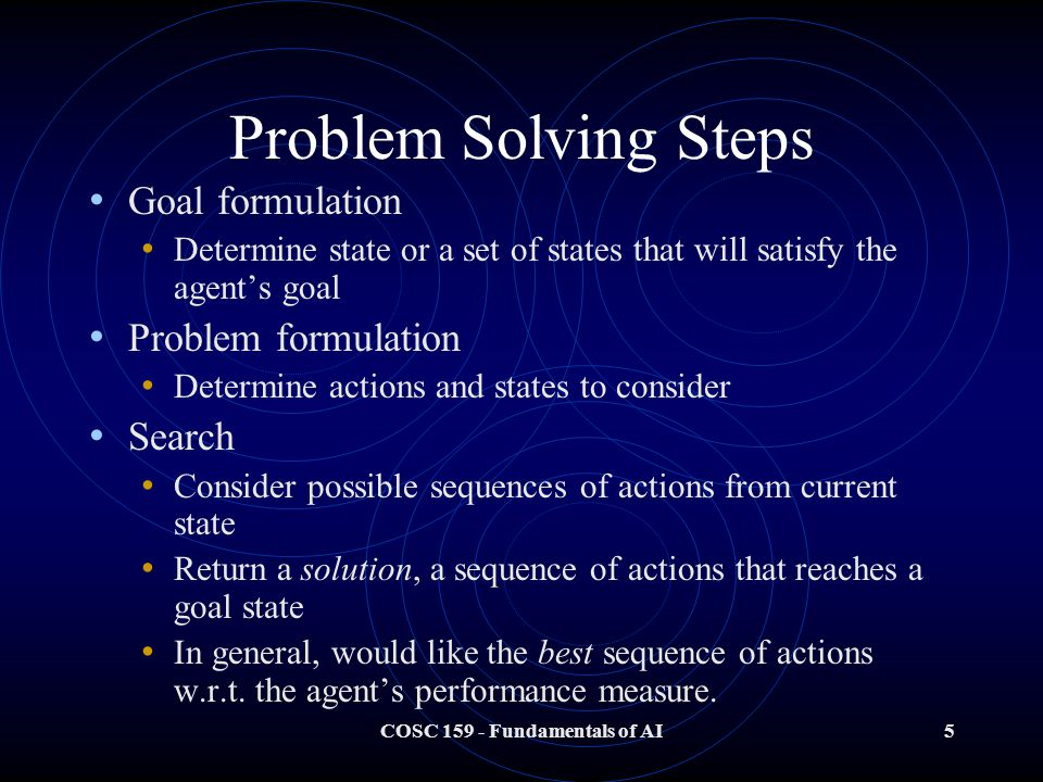 COSC Fundamentals of AI5 Problem Solving Steps Goal formulation Determine state or a set of states that will satisfy the agent's goal Problem formulation Determine actions and states to consider Search Consider possible sequences of actions from current state Return a solution, a sequence of actions that reaches a goal state In general, would like the best sequence of actions w.r.t.