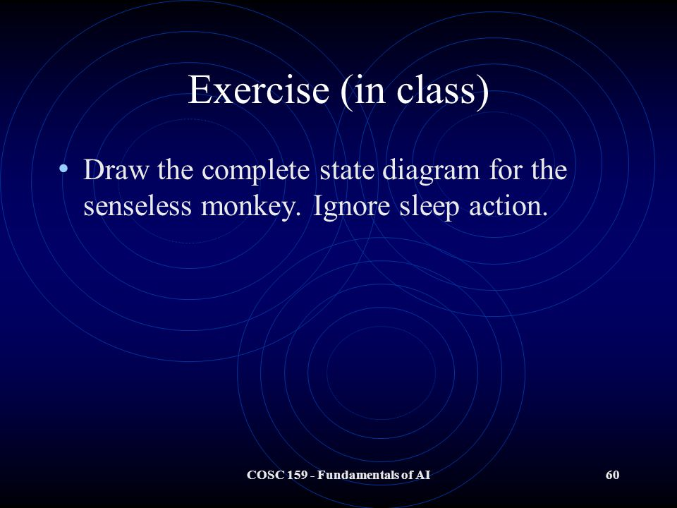 COSC 159 - Fundamentals of AI60 Exercise (in class) Draw the complete state diagram for the senseless monkey.