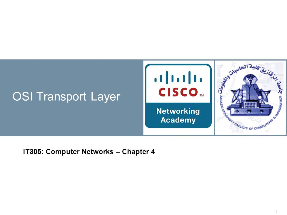 1 OSI Transport Layer IT305: Computer Networks – Chapter 4