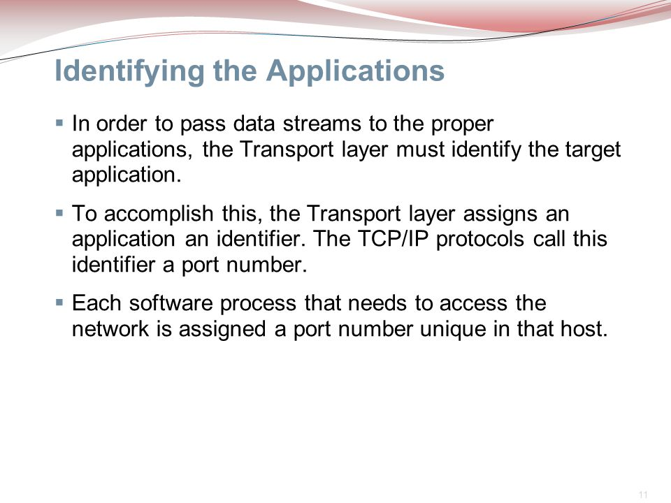 11 Identifying the Applications  In order to pass data streams to the proper applications, the Transport layer must identify the target application.