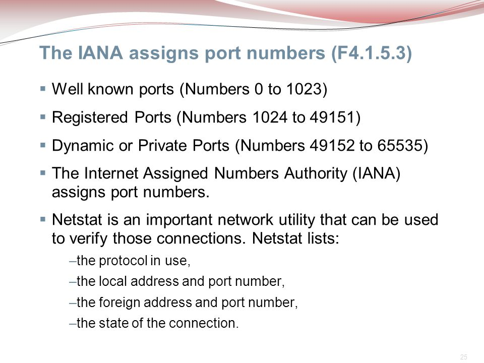 25 The IANA assigns port numbers (F4.1.5.3)  Well known ports (Numbers 0 to 1023)  Registered Ports (Numbers 1024 to 49151)  Dynamic or Private Por