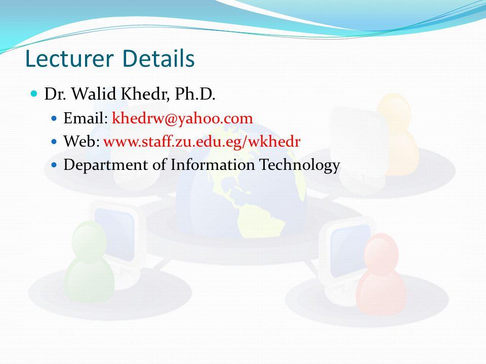 Lecturer Details Dr.Walid Khedr, Ph.D.