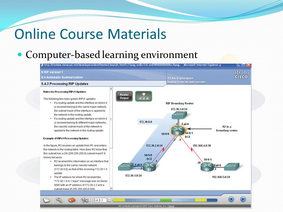 Online Course Materials Computer-based learning environment