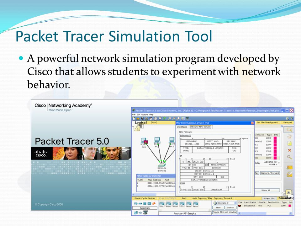 Packet Tracer Simulation Tool A powerful network simulation program developed by Cisco that allows students to experiment with network behavior.