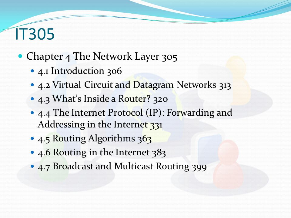 IT305 Chapter 4 The Network Layer 305 4.1 Introduction 306 4.2 Virtual Circuit and Datagram Networks 313 4.3 What's Inside a Router.