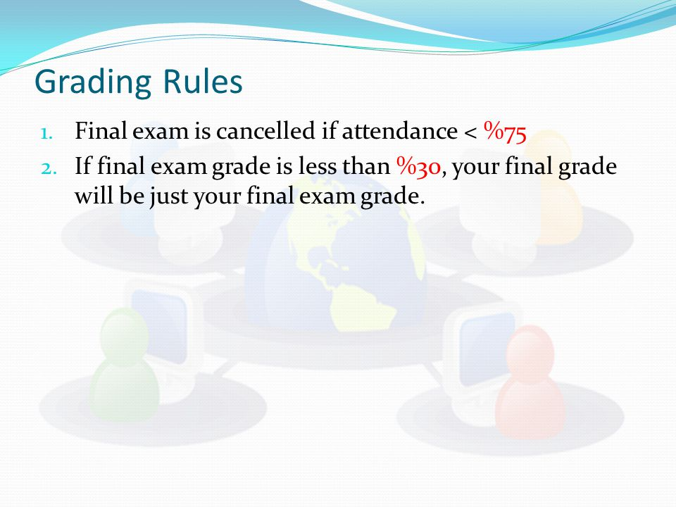 Grading Rules 1. Final exam is cancelled if attendance < %75 2.