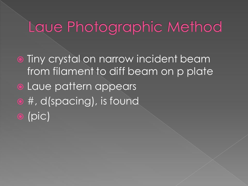  Beam penetrates at 90 where crystal rotates on axis // to axes  During rotation, diff positions show diff spots on p plate  (pic)  Terms of layer lines
