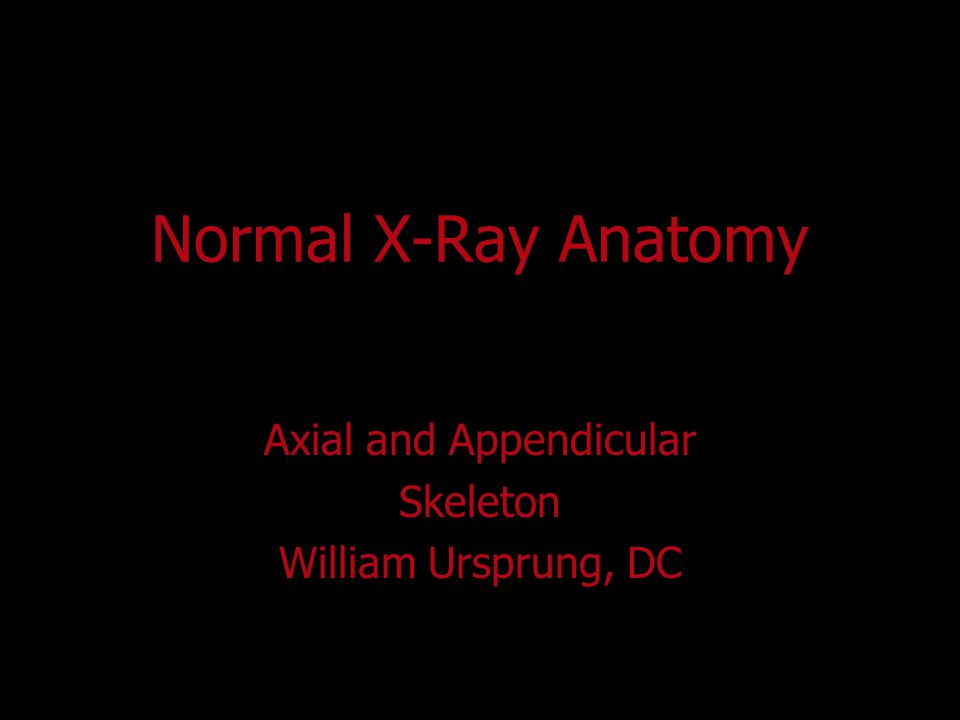 Normal X-Ray Anatomy Axial and Appendicular Skeleton William Ursprung, DC