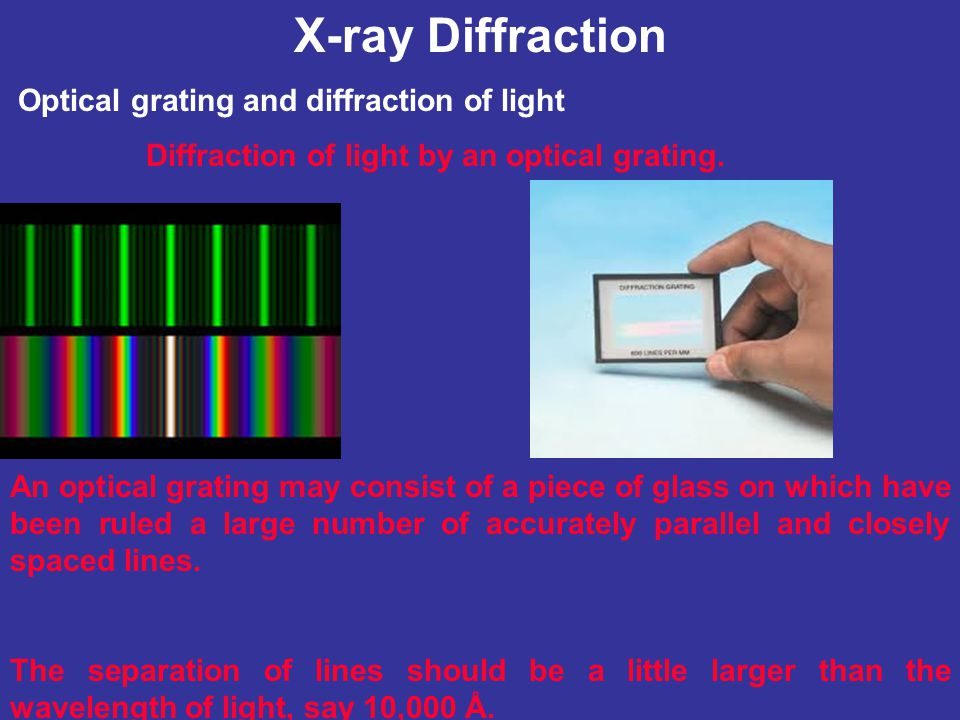 X-ray Diffraction Optical grating and diffraction of light Diffraction of light by an optical grating. An optical grating may consist of a piece of gl