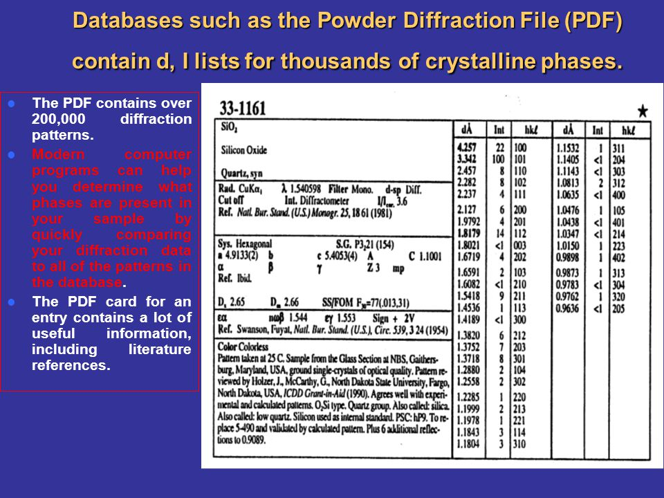 Databases such as the Powder Diffraction File (PDF) contain d, I lists for thousands of crystalline phases. The PDF contains over 200,000 diffraction