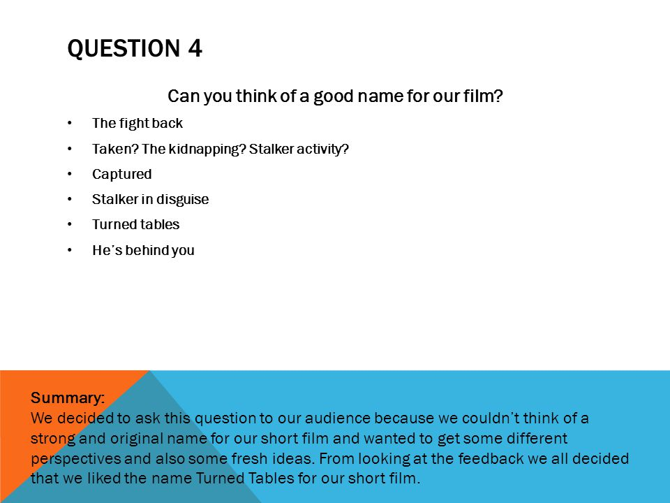 QUESTION 4 Can you think of a good name for our film.