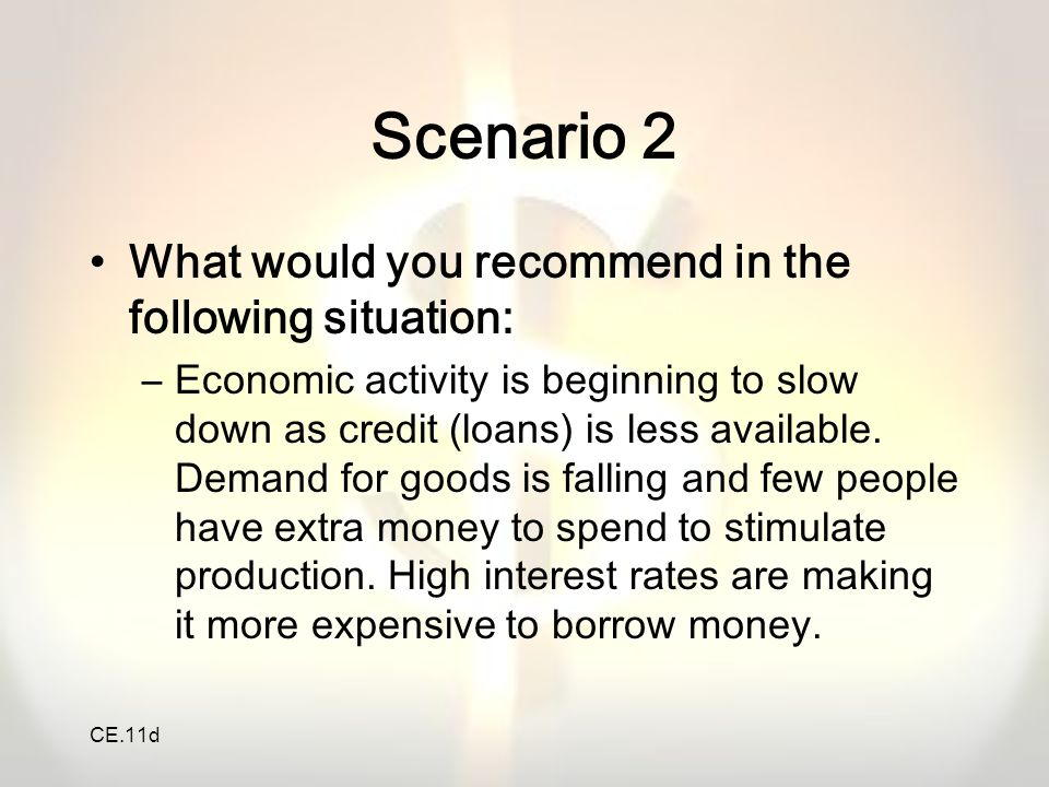 CE.11d Scenario 2 What would you recommend in the following situation: –Economic activity is beginning to slow down as credit (loans) is less availabl