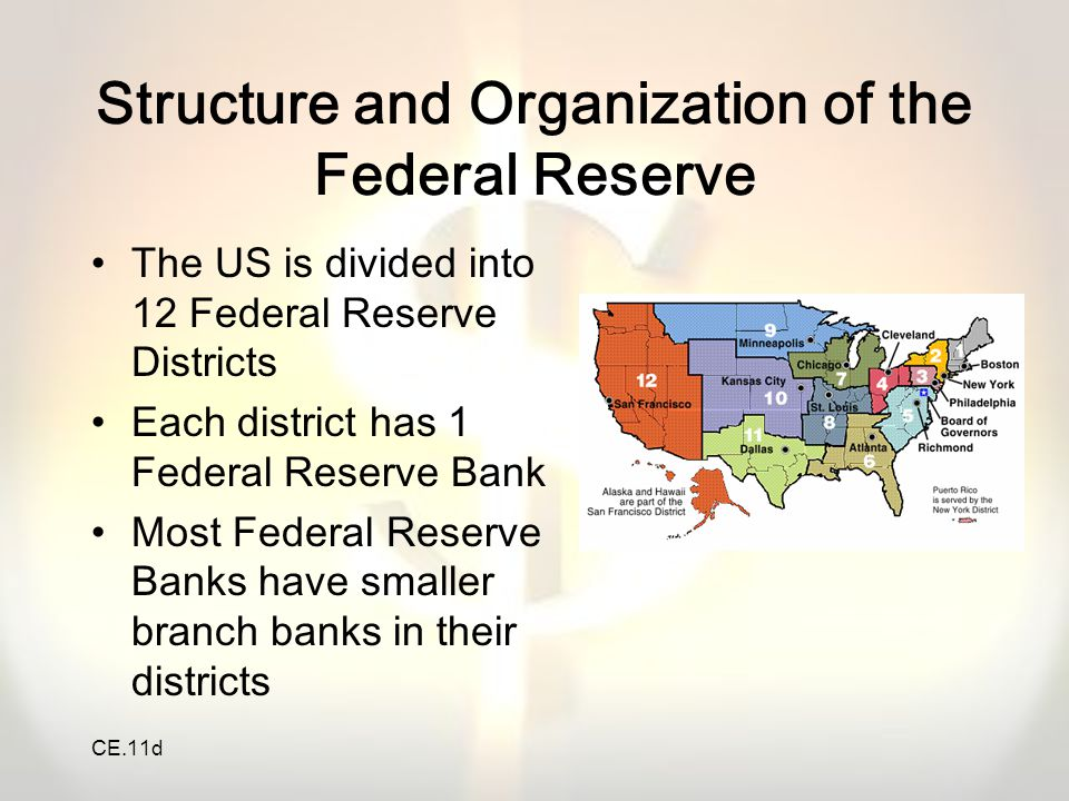 CE.11d The Federal Reserve System, acting as the central bank, regulates the money supply.
