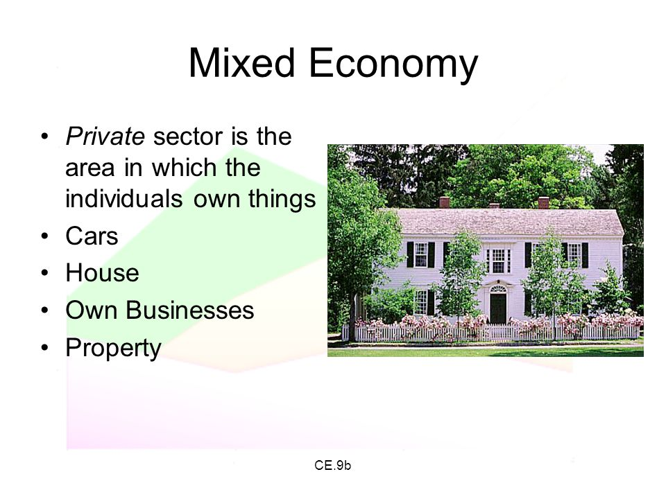 CE.9b Mixed Economy Private sector is the area in which the individuals own things Cars House Own Businesses Property