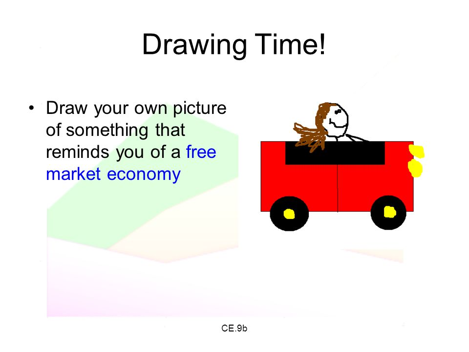 CE.9b Drawing Time! Draw your own picture of something that reminds you of a free market economy