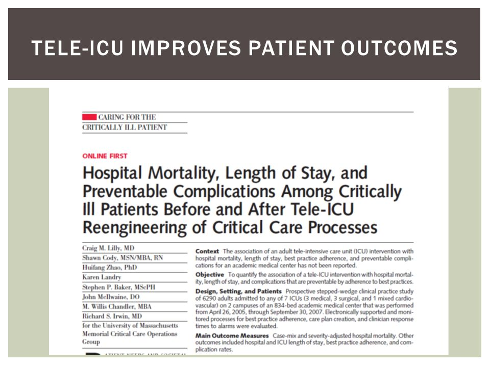 PreinterventionTele-ICU Intervention Bedside monitor alarmsPhysiological trend alerts Abnormal laboratory value alerts Review of response to alerts Off-site team rounds Daily goal sheetElectronic detection of nonadherence Real-time auditing Nurse manager audits Team audits Telephone case review initiated by house staff or affiliate practitioner Workstation review initiated by intensivist includes electronic medical record, imaging studies, interactive audio and video of patient, interaction with nurse and respiratory therapist, and assessment of response to therapy TABLE 1.