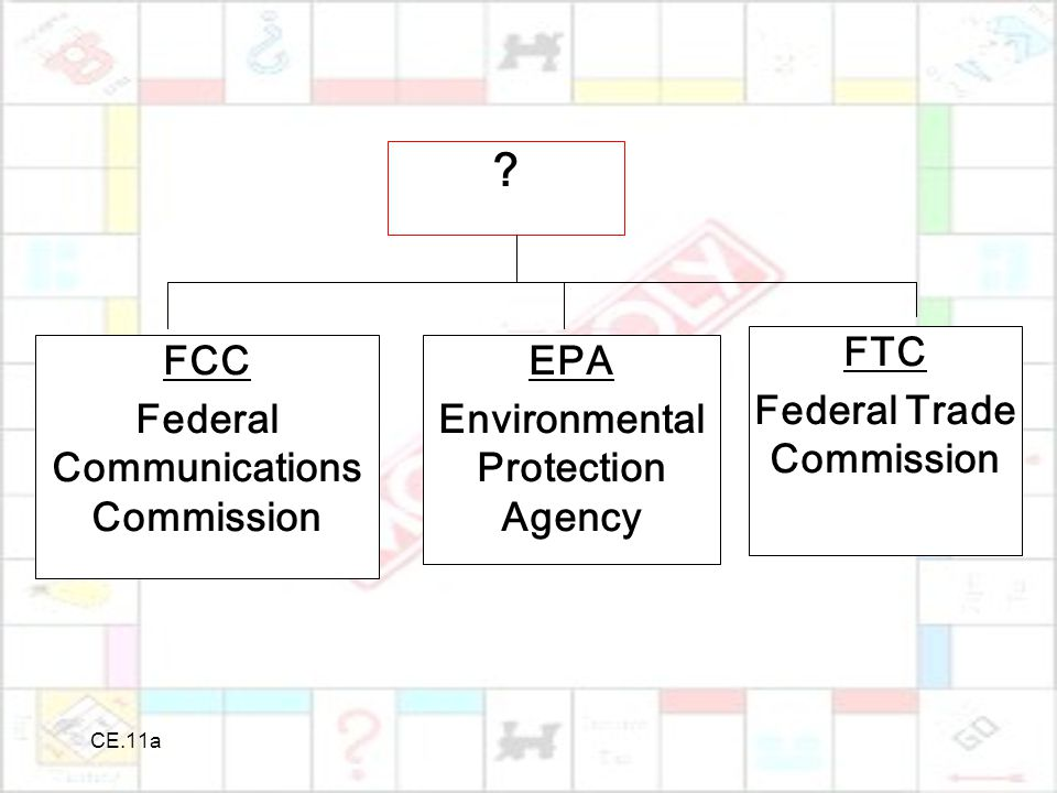CE.11a ? FCC Federal Communications Commission EPA Environmental Protection Agency FTC Federal Trade Commission
