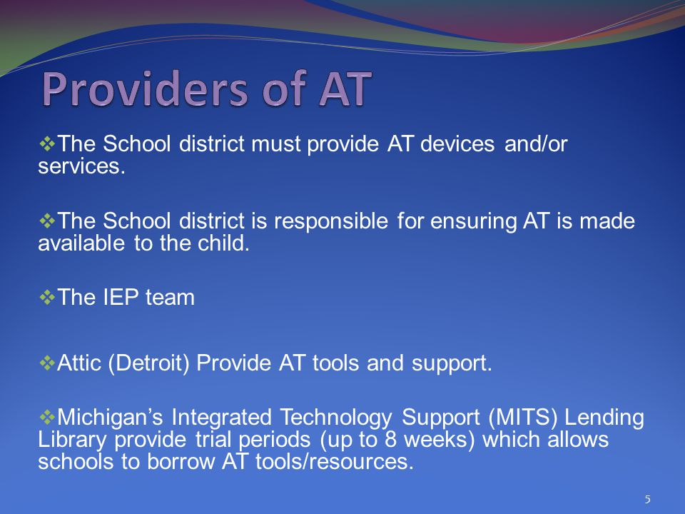  The School district must provide AT devices and/or services.