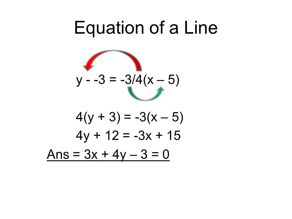 Equation of a Line y - -3 = -3/4(x – 5) 4(y + 3) = -3(x – 5) 4y + 12 = -3x + 15 Ans = 3x + 4y – 3 = 0