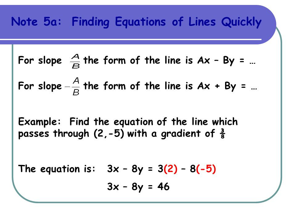 Note 5a: Finding Equations of Lines Quickly For slope the form of the line is Ax – By = … For slope the form of the line is Ax + By = … Example: Find