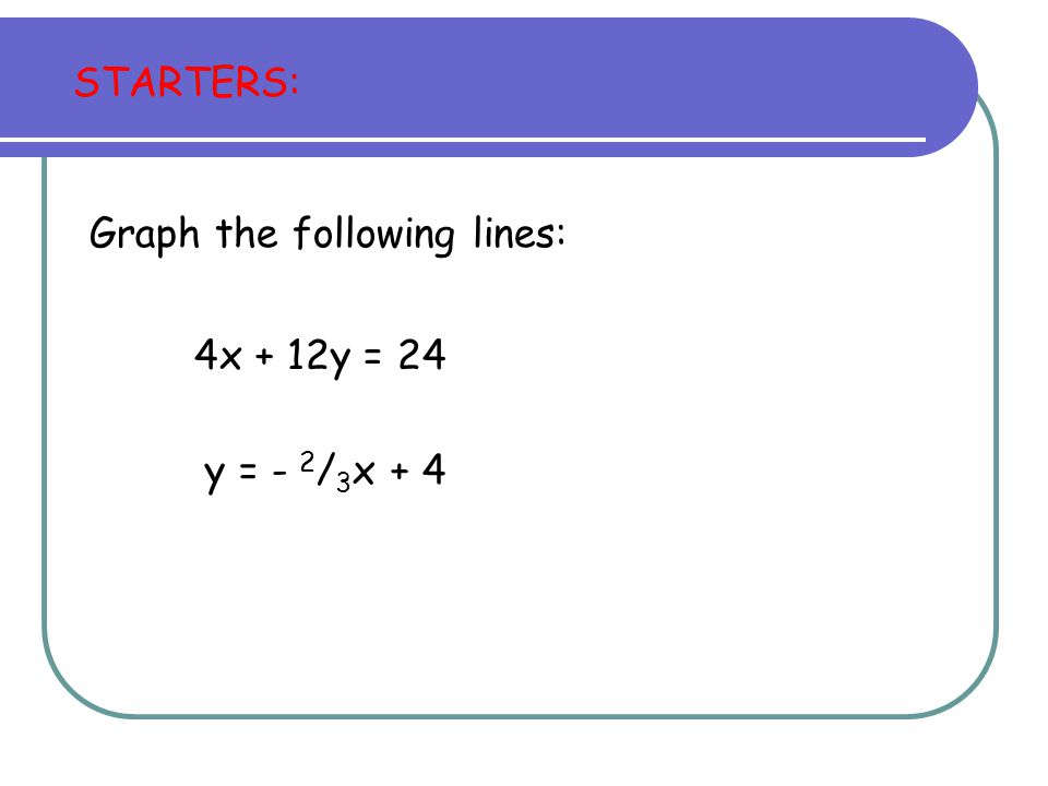 STARTERS: Graph the following lines: 4x + 12y = 24 y = - 2 / 3 x + 4