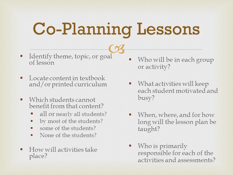  Co-Planning Lessons  Identify theme, topic, or goal of lesson  Locate content in textbook and/or printed curriculum  Which students cannot benefi