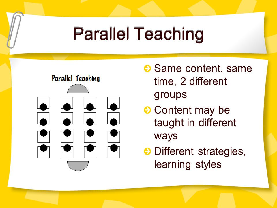Parallel Teaching Same content, same time, 2 different groups Content may be taught in different ways Different strategies, learning styles