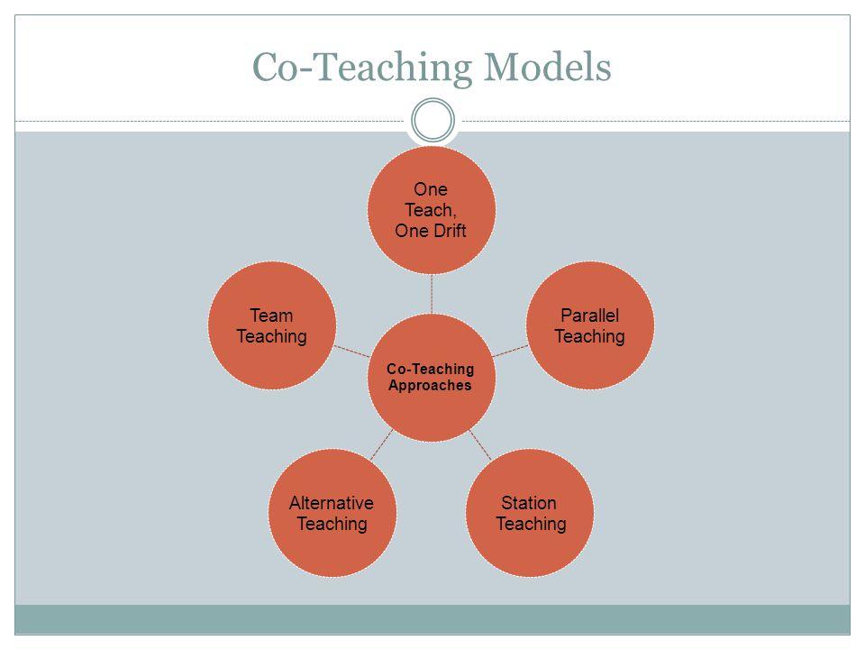 Co-Teaching Models Co-Teaching Approaches One Teach, One Drift Parallel Teaching Station Teaching Alternative Teaching Team Teaching