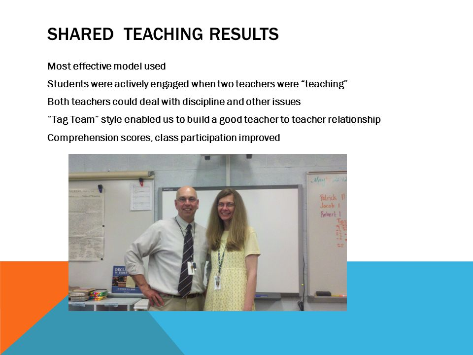 "SHARED TEACHING RESULTS Most effective model used Students were actively engaged when two teachers were ""teaching"" Both teachers could deal with disci"