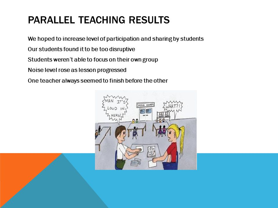 PARALLEL TEACHING RESULTS We hoped to increase level of participation and sharing by students Our students found it to be too disruptive Students were