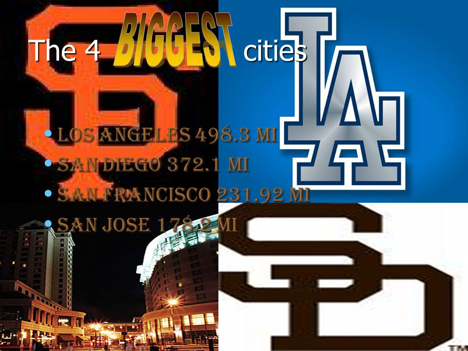 The 4 cities Los Angeles mi Los Angeles mi San Diego mi San Diego mi San Francisco mi San Francisco mi San Jose mi San Jose mi
