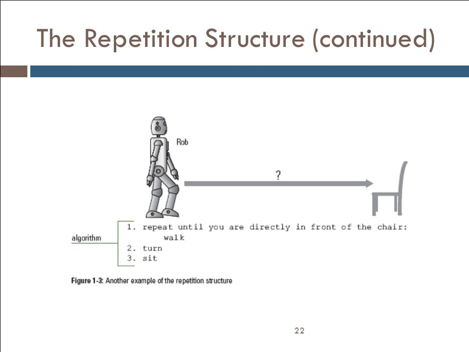 The Repetition Structure (continued) 22