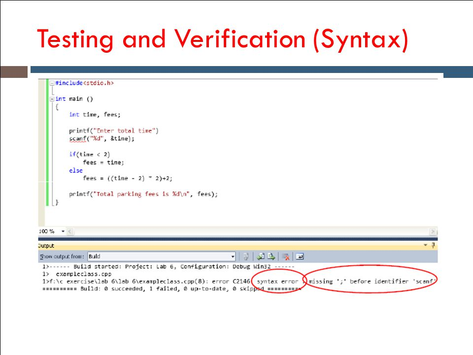 Testing and Verification (Syntax)
