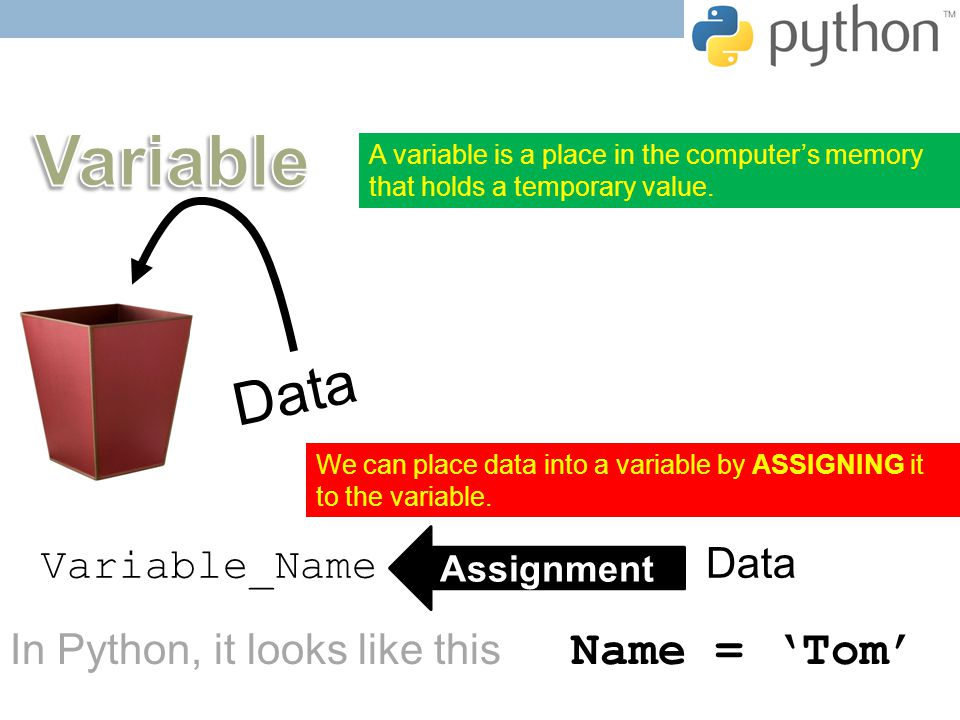 A variable is a place in the computer's memory that holds a temporary value.
