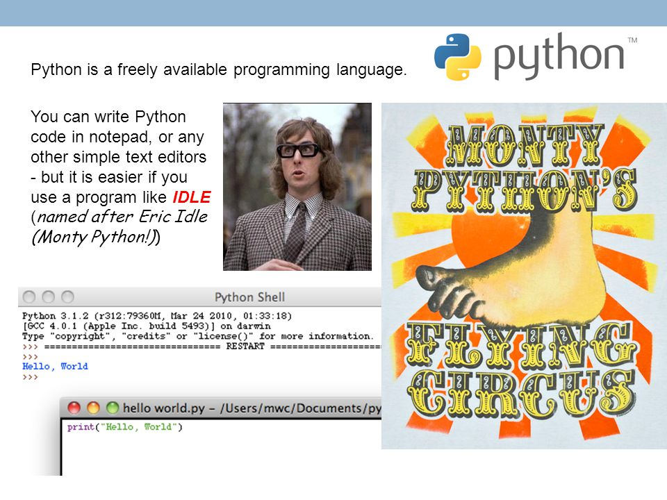 Python is a freely available programming language. You can write Python code in notepad, or any other simple text editors - but it is easier if you us