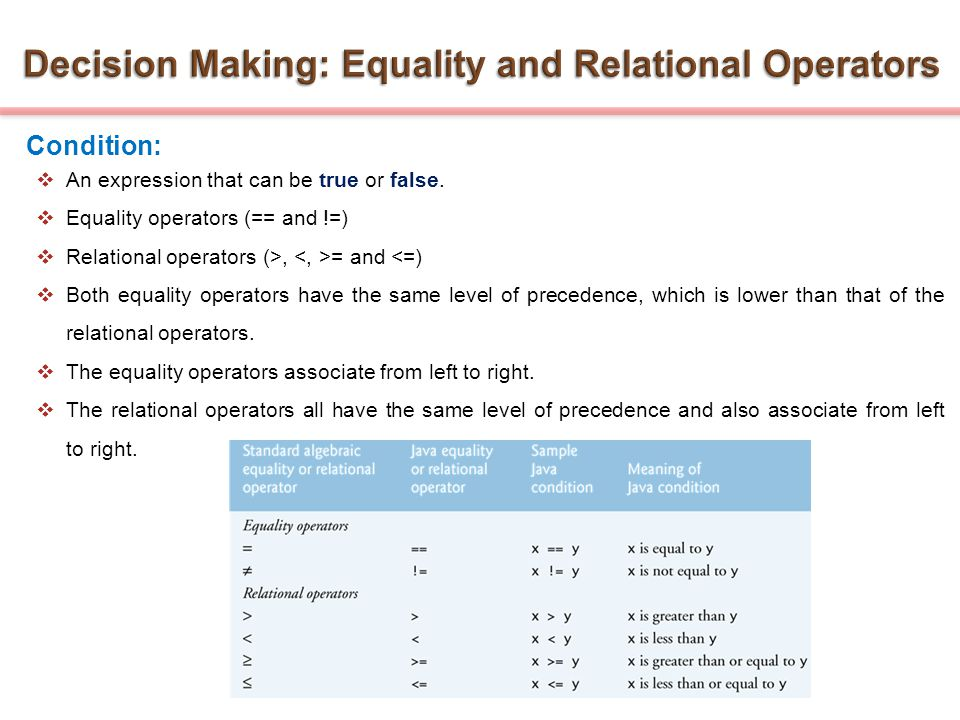 Condition:  An expression that can be true or false.  Equality operators (== and !=)  Relational operators (>, = and <=)  Both equality operators