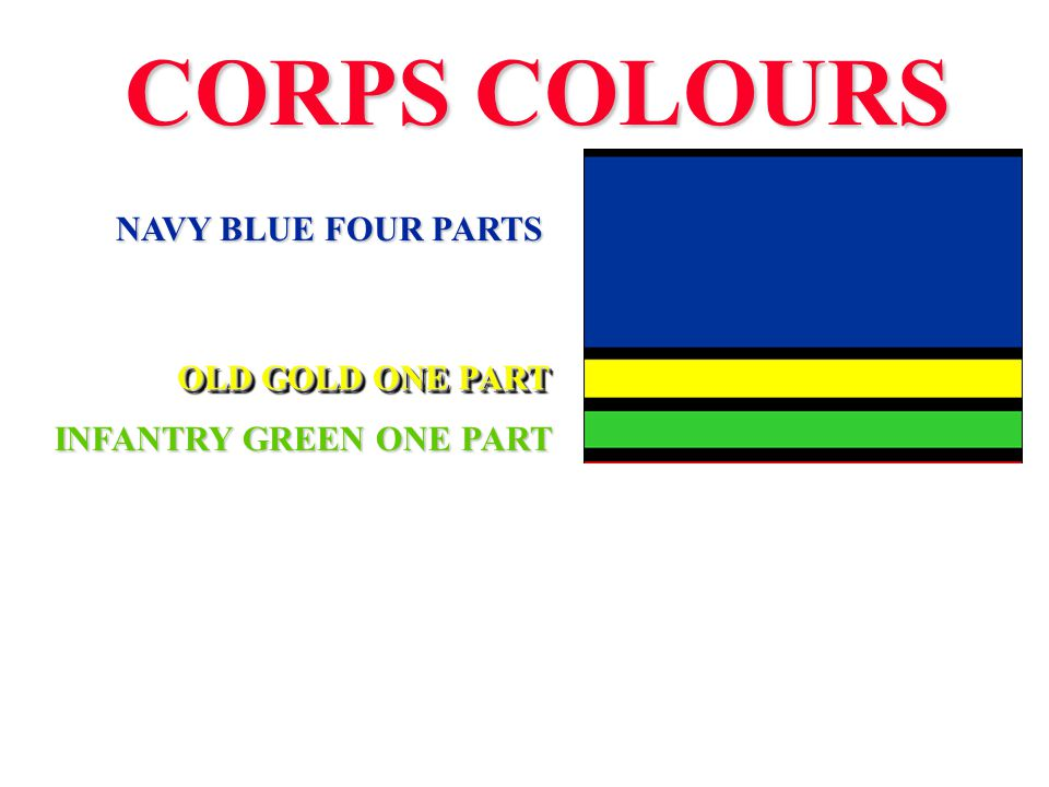 CORPS COLOURS NAVY BLUE FOUR PARTS OLD GOLD ONE PART INFANTRY GREEN ONE PART DRUMMER RED 2 PARTS DARK BLUE FOUR PARTS