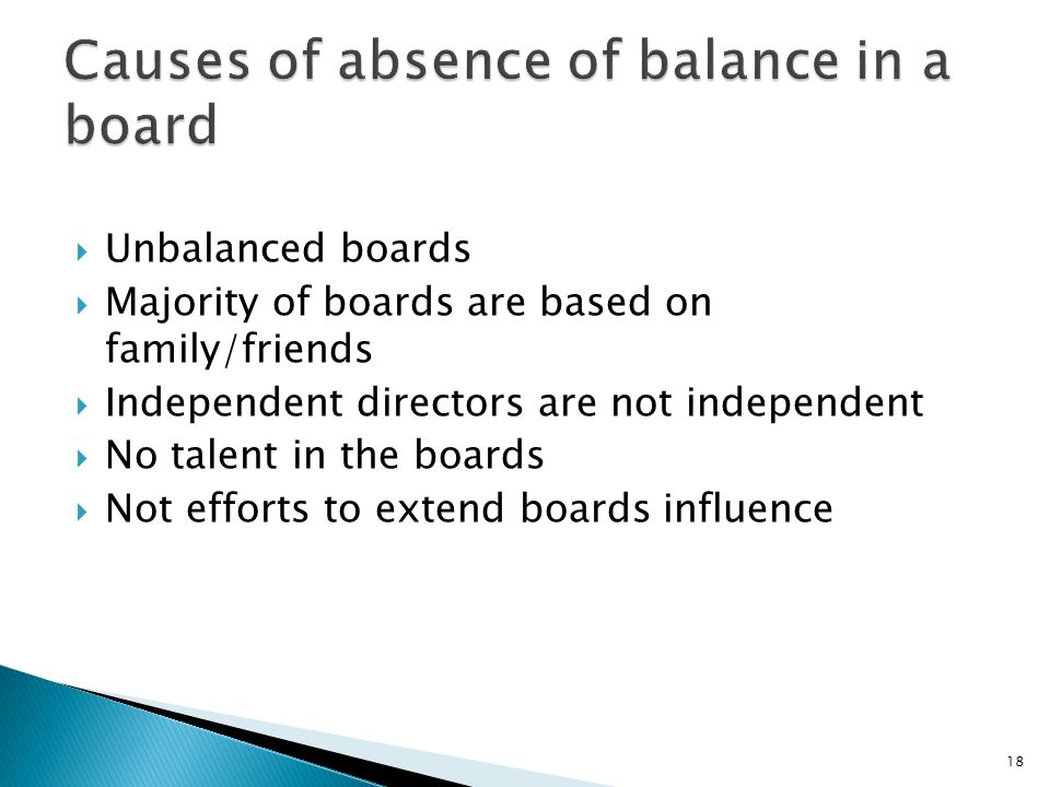 Unbalanced boards  Majority of boards are based on family/friends  Independent directors are not independent  No talent in the boards  Not effor