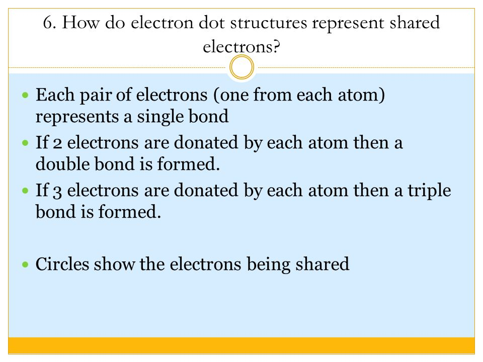 6. How do electron dot structures represent shared electrons.