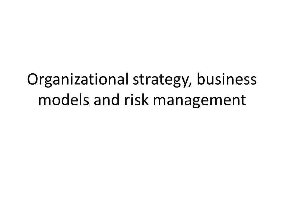 Organizational strategy, business models and risk management