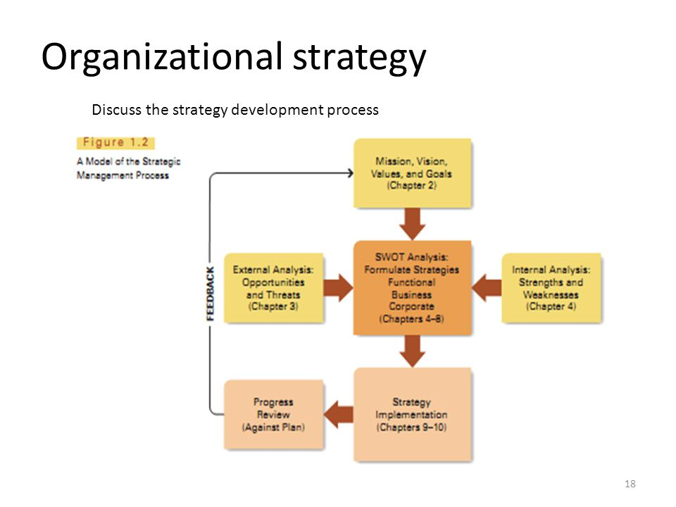 Organizational strategy Discuss the strategy development process 18