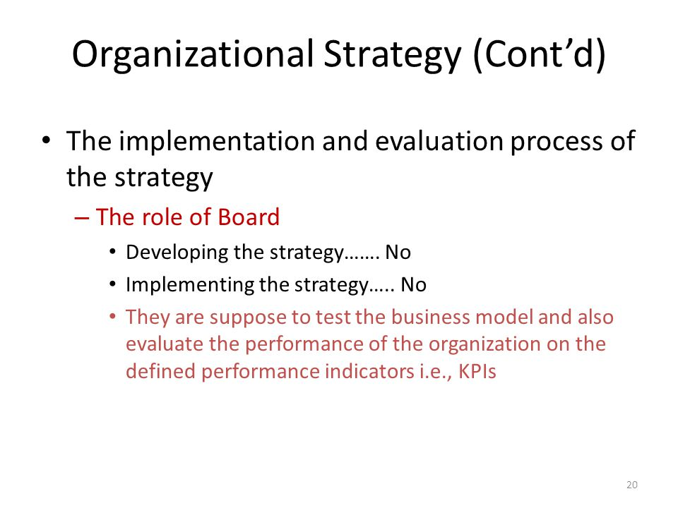 Organizational Strategy (Cont'd) The implementation and evaluation process of the strategy – The role of Board Developing the strategy…….