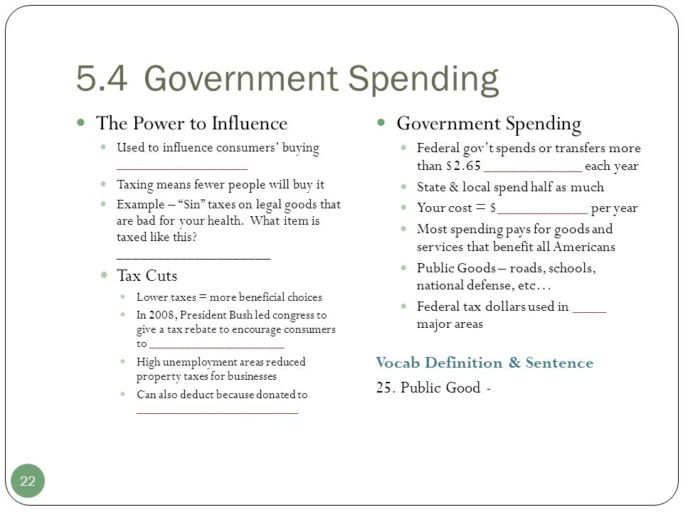 5.4Government Spending 22 The Power to Influence Used to influence consumers' buying _________________ Taxing means fewer people will buy it Example –